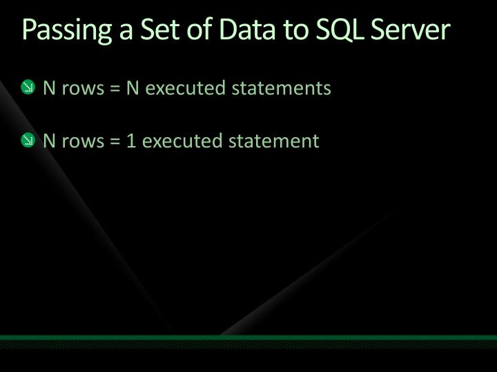 Passing a Set of Data to SQL Server
