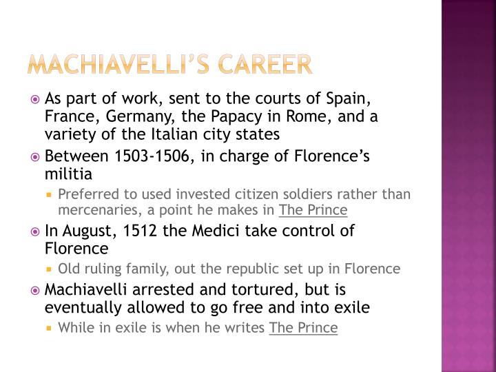 Machiavelli's career