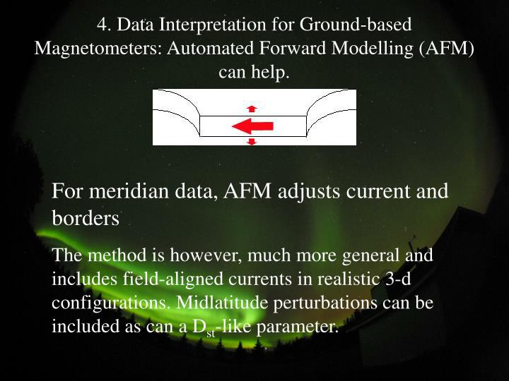 4. Data Interpretation for Ground-based Magnetometers: Automated Forward Modelling (AFM) can help.