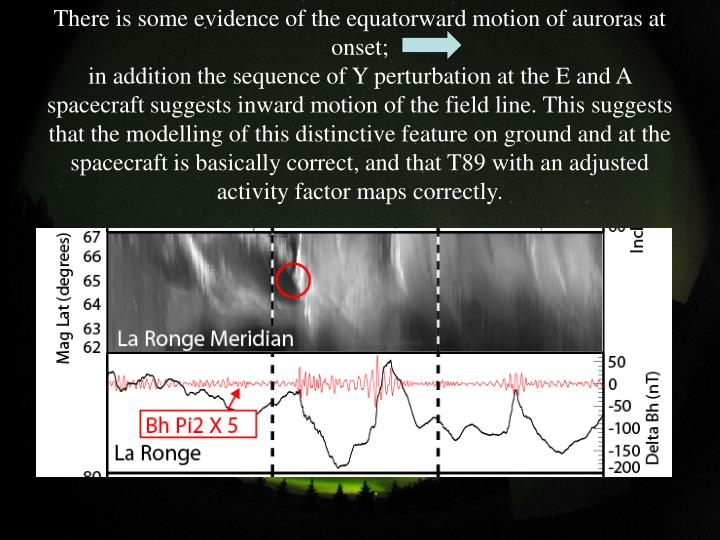 There is some evidence of the equatorward motion of auroras at onset;