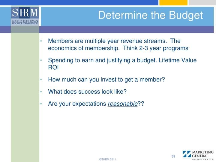 Determine the Budget