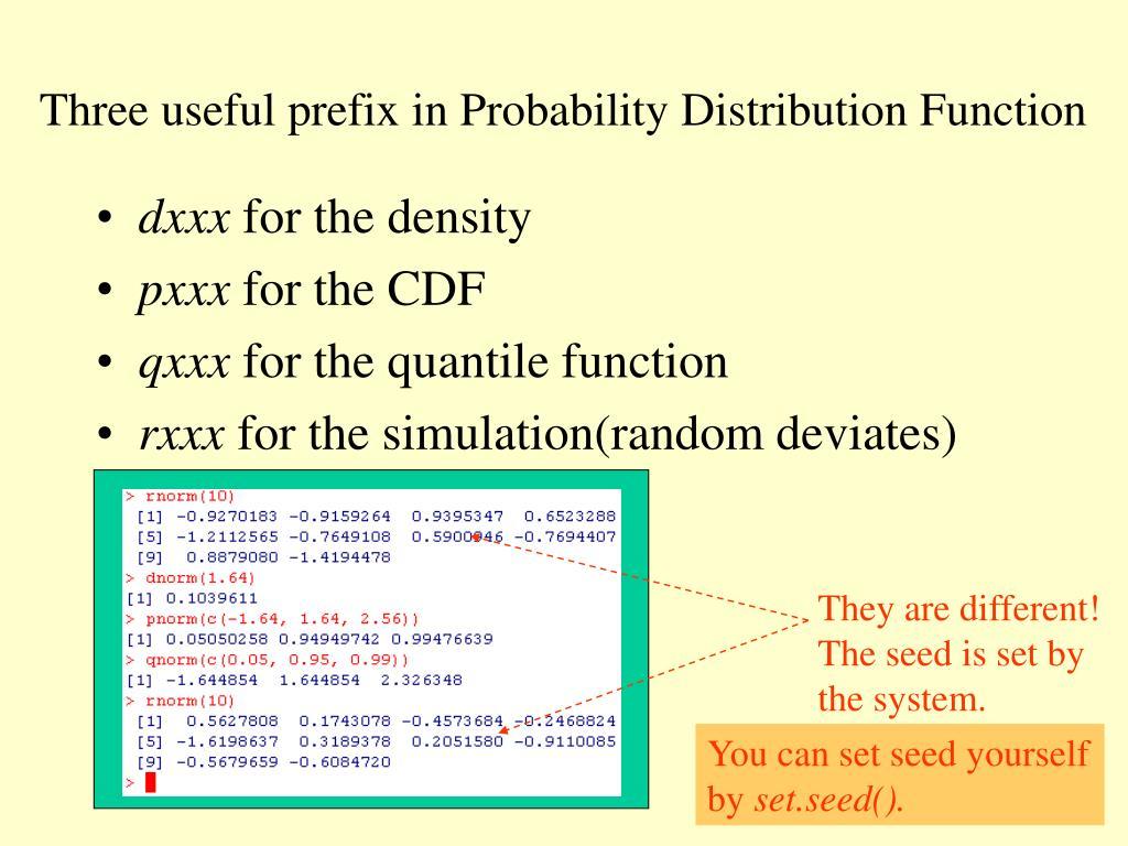 Three useful prefix in Probability Distribution Function