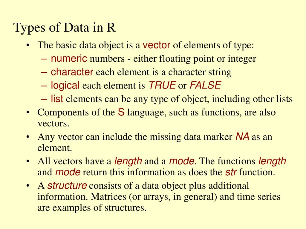 Types of Data in R