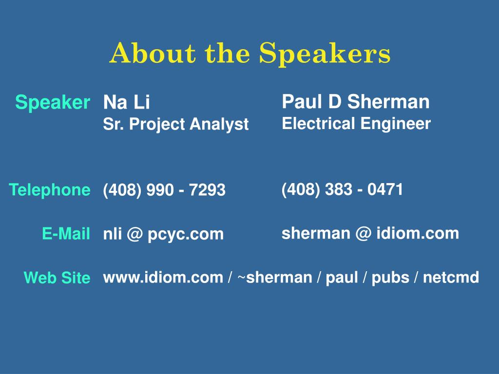 About the Speakers