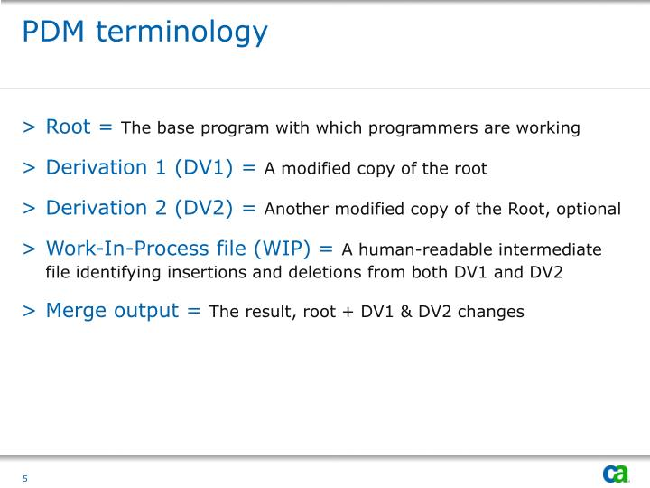 PDM terminology
