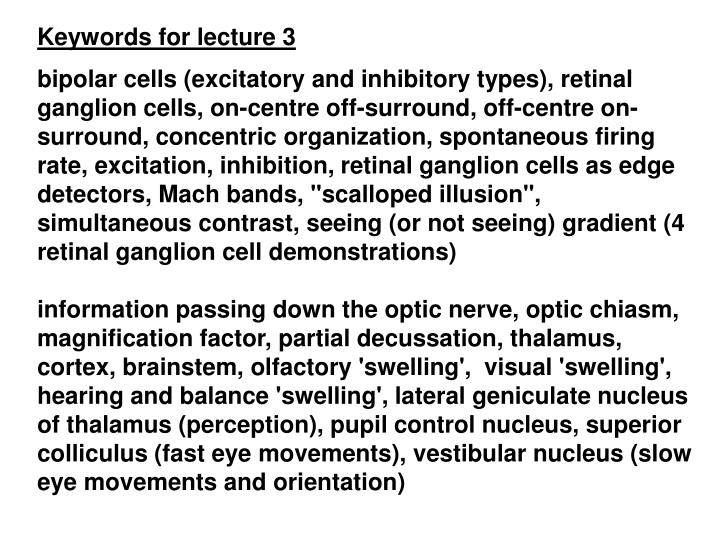 Keywords for lecture 3