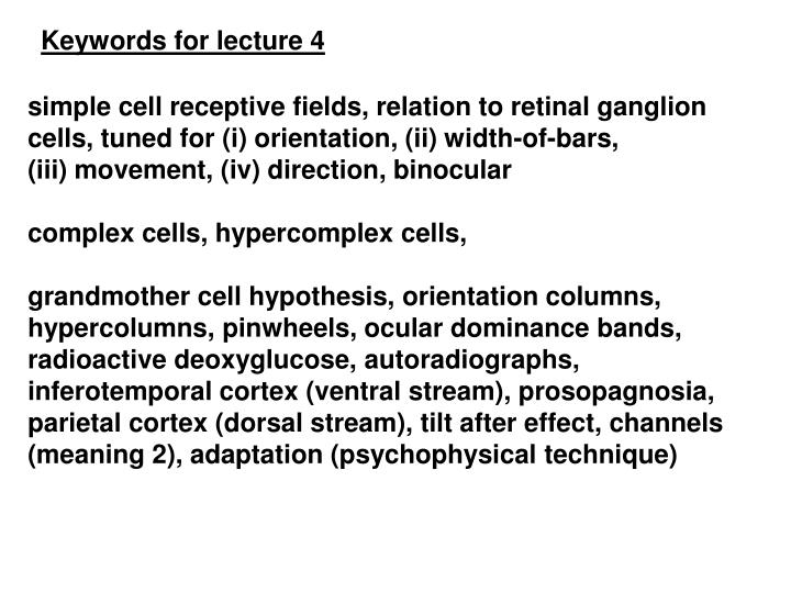 Keywords for lecture 4
