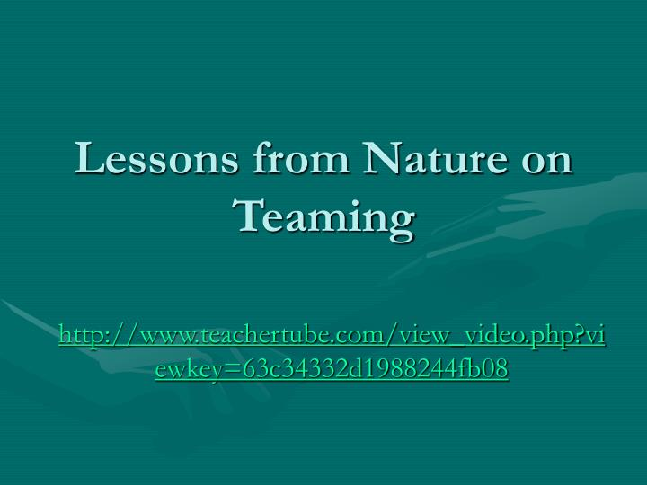 Lessons from nature on teaming