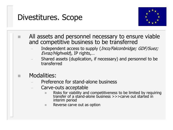 Divestitures. Scope