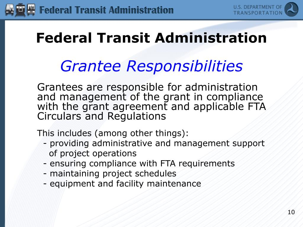 Technology Management Image: FTA Grant Process & Technical Assistance PowerPoint