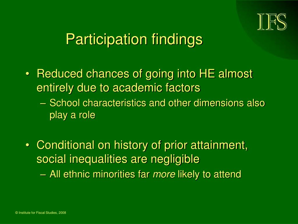 Participation findings