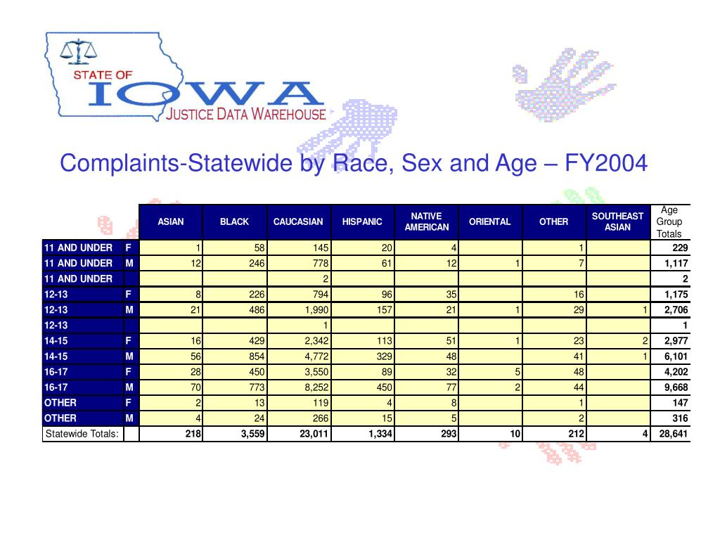 Complaints-Statewide by Race, Sex and Age – FY2004
