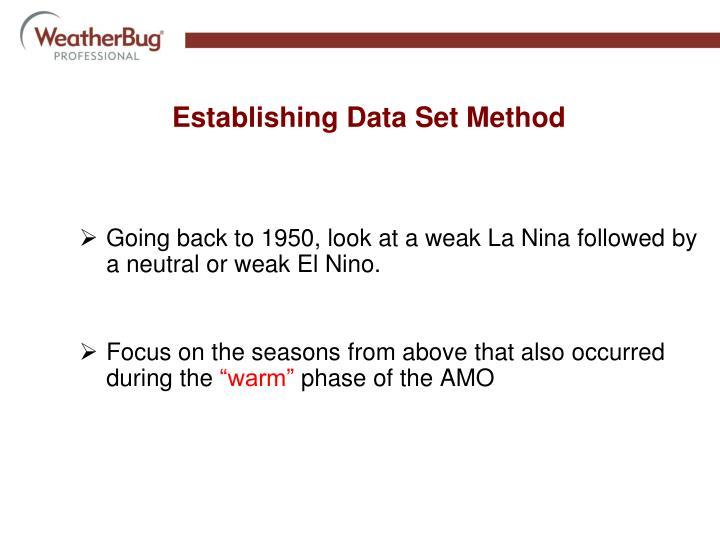Going back to 1950, look at a weak La Nina followed by a neutral or weak El Nino.