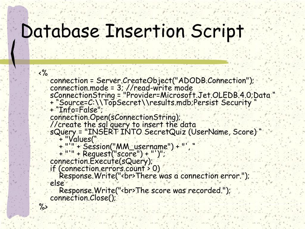 Database Insertion Script