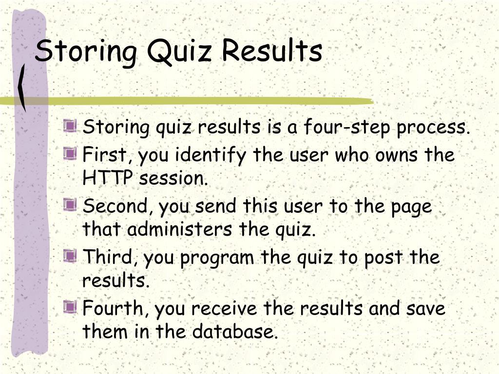 Storing Quiz Results