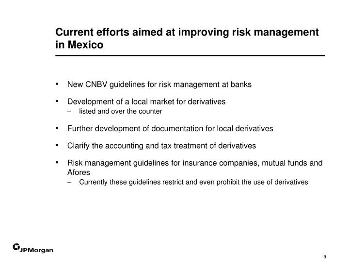 Current efforts aimed at improving risk management in Mexico