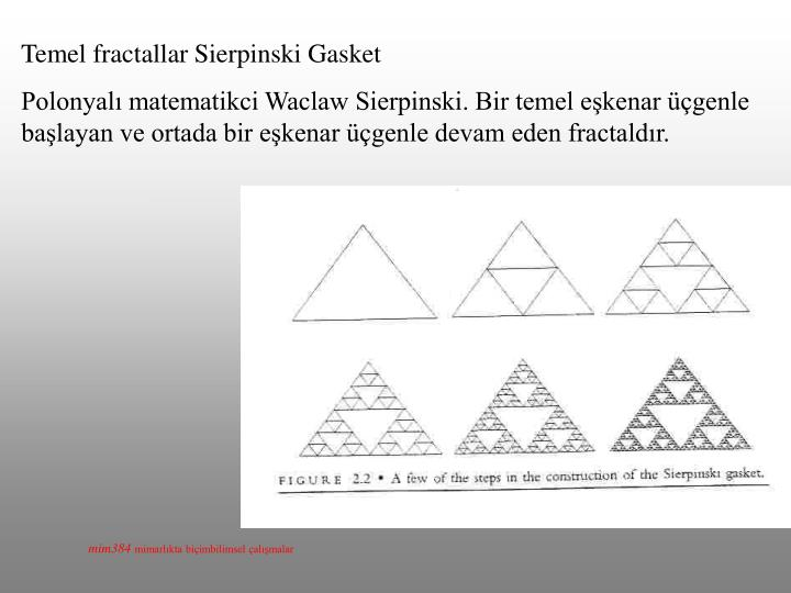 Temel fractallar Sierpinski Gasket