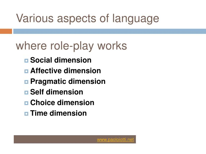 Various aspects of language