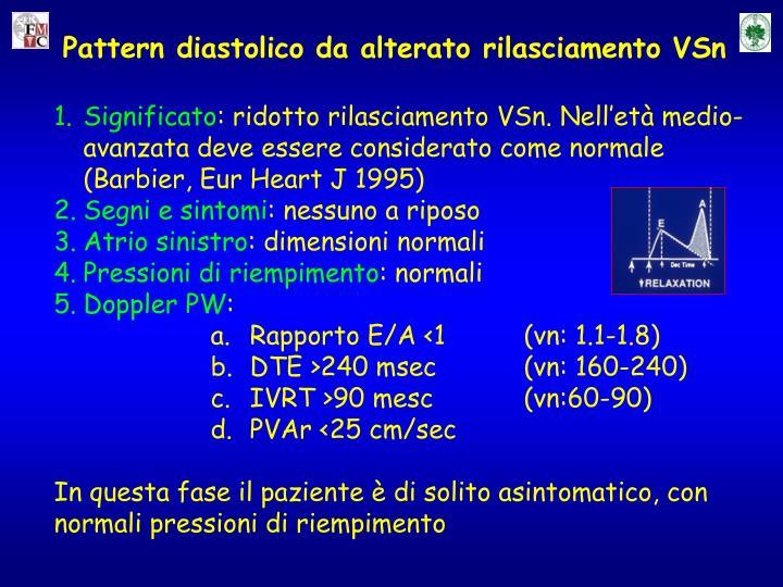 Pattern diastolico da alterato rilasciamento VSn