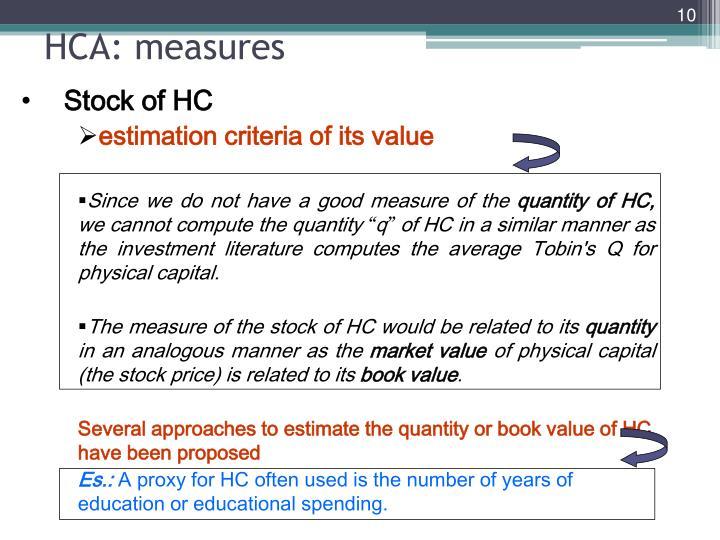 HCA: measures