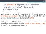 our proposal 1 regards a new approach to calculate the value of university education in hca