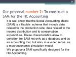 our proposal number 2 to construct a sam for the hc accounting