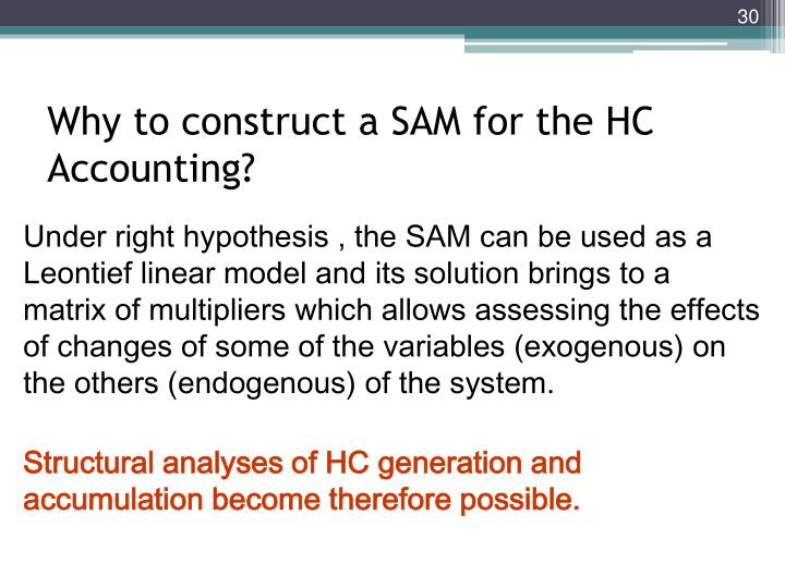 Why to construct a SAM for the HC Accounting?