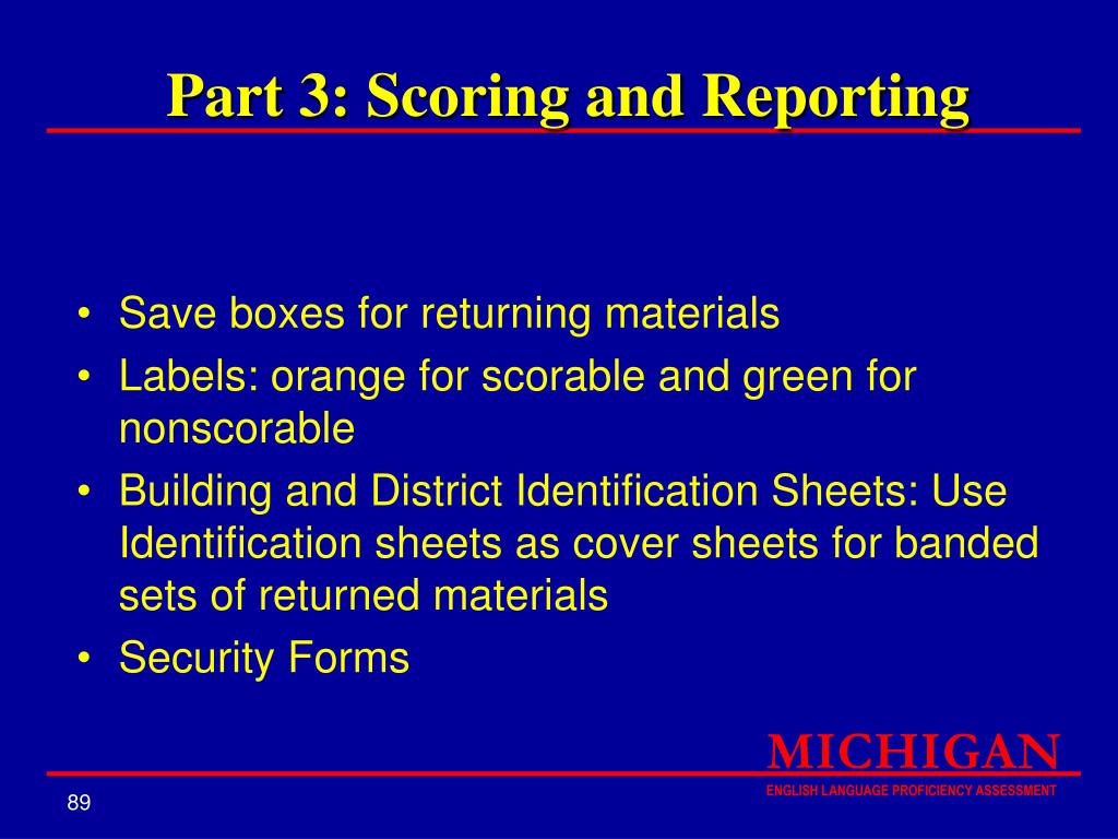 Part 3: Scoring and Reporting