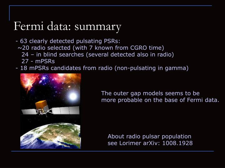 Fermi data: summary