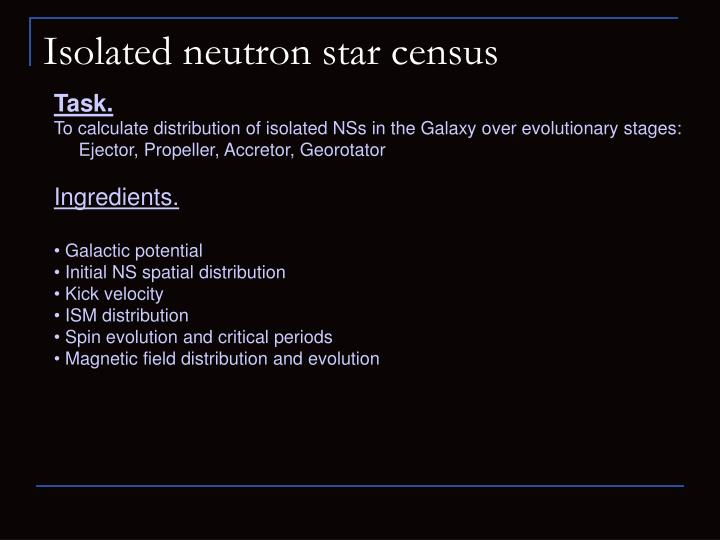 Isolated neutron star census
