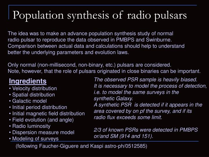 Population synthesis of radio pulsars