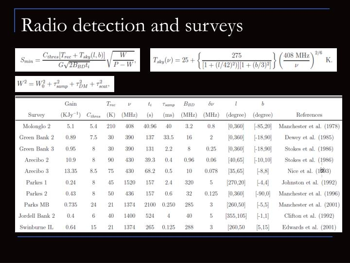 Radio detection and surveys