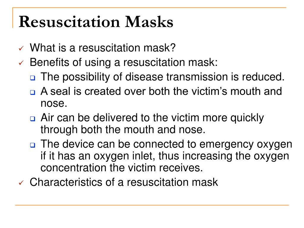 Resuscitation Masks