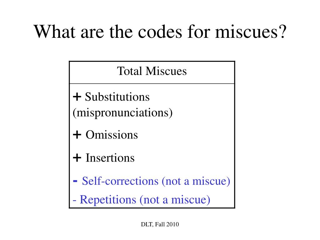 What are the codes for miscues?