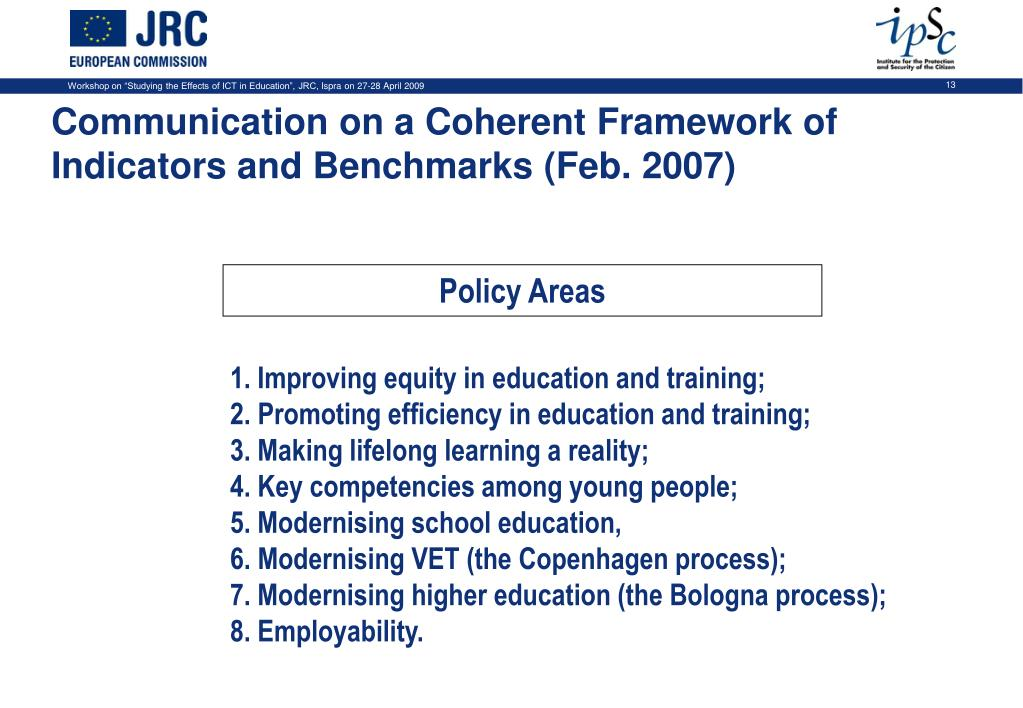 Communication on a Coherent Framework of Indicators and Benchmarks (Feb. 2007)