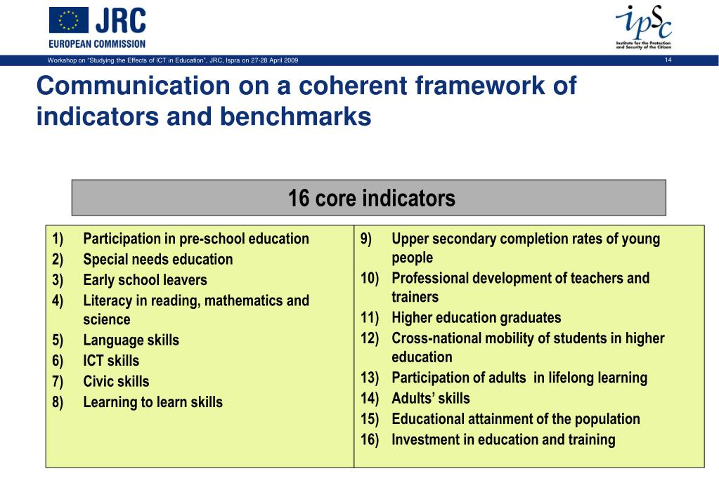 Communication on a coherent framework of indicators and benchmarks