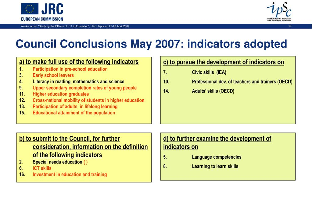 Council Conclusions May 2007: indicators adopted