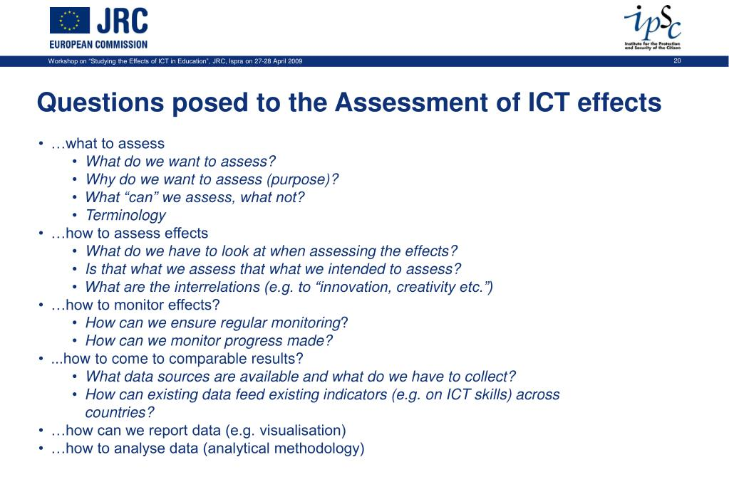 Questions posed to the Assessment of ICT effects