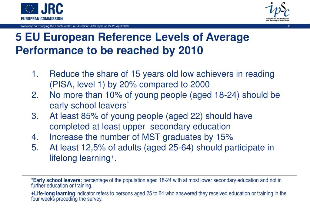 Reduce the share of 15 years old low achievers in reading (PISA, level 1) by 20% compared to 2000