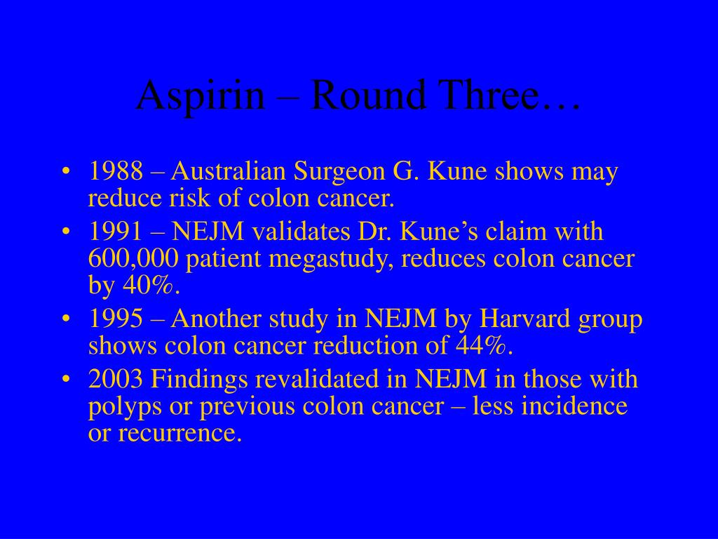 Aspirin – Round Three…