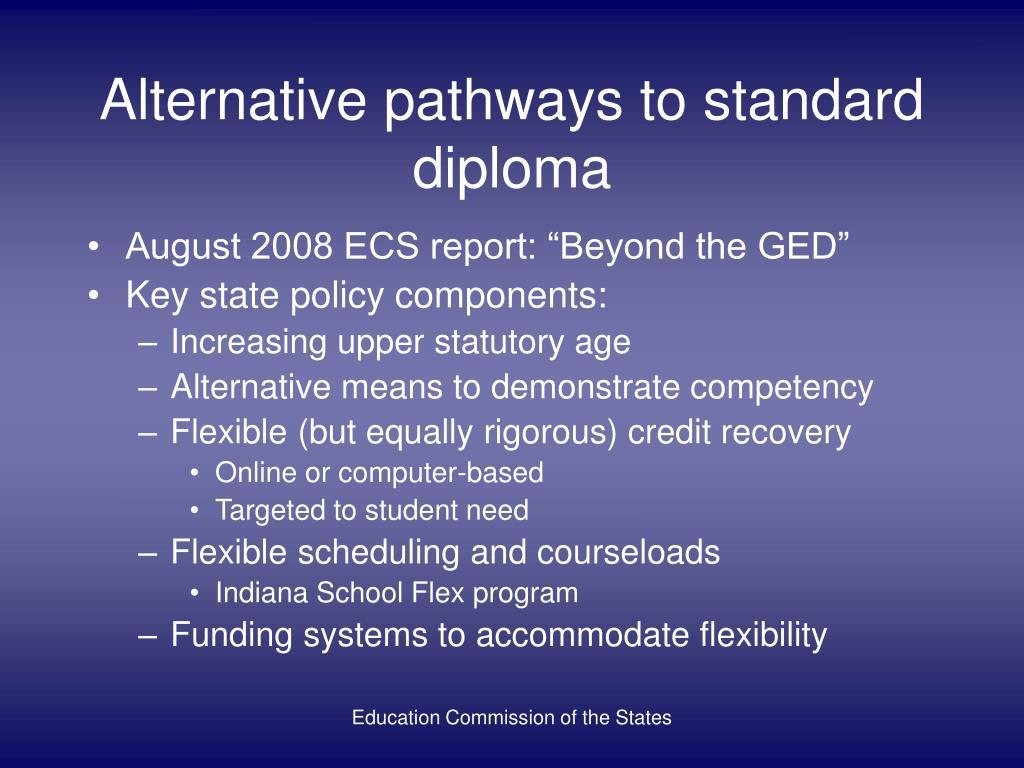 Alternative pathways to standard diploma