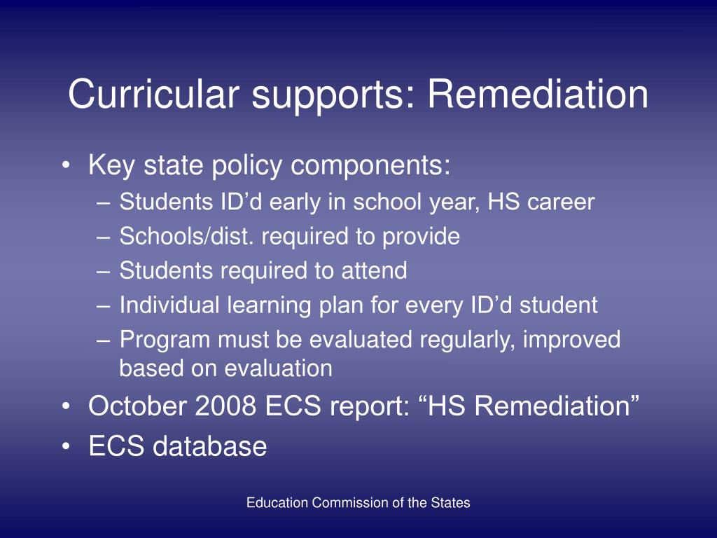 Curricular supports: Remediation