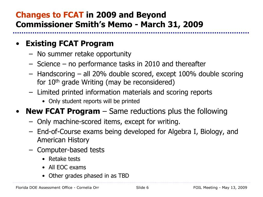 Changes to FCAT