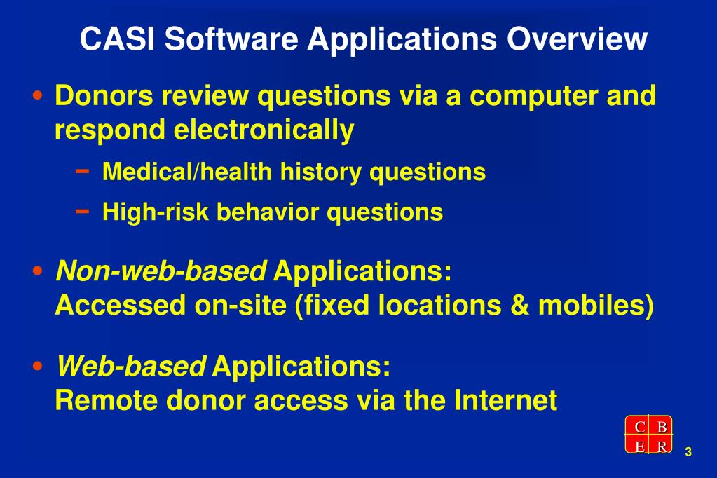 CASI Software Applications Overview