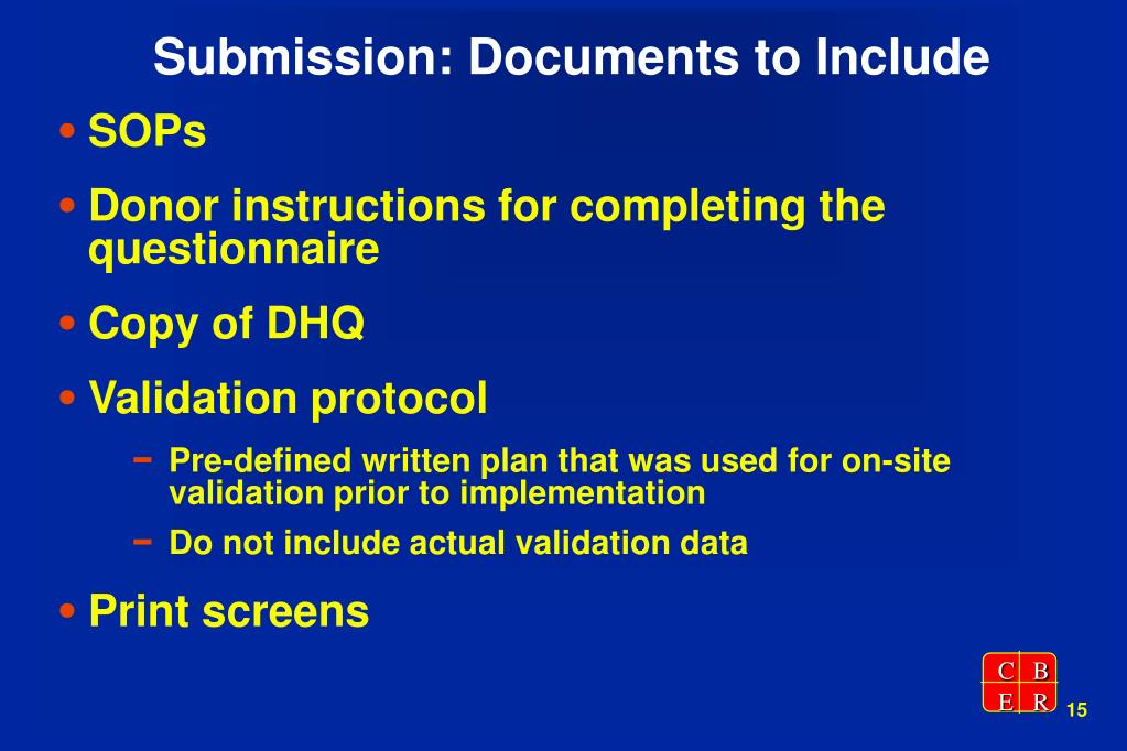 Submission: Documents to Include