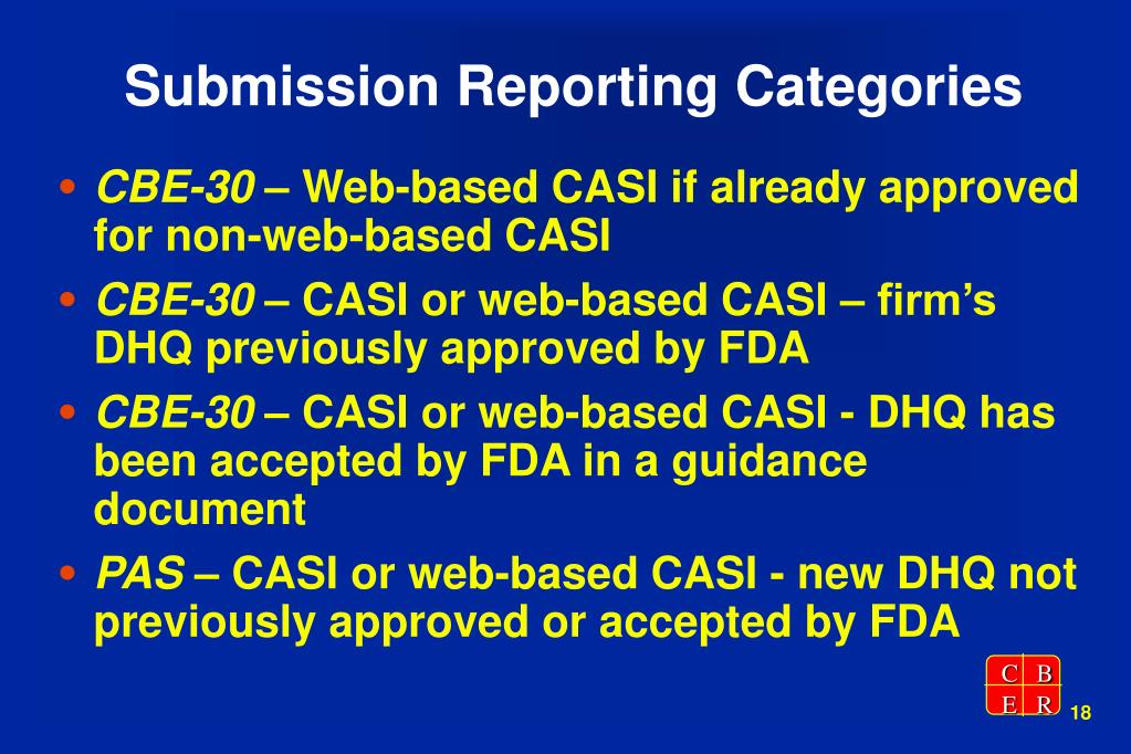 Submission Reporting Categories