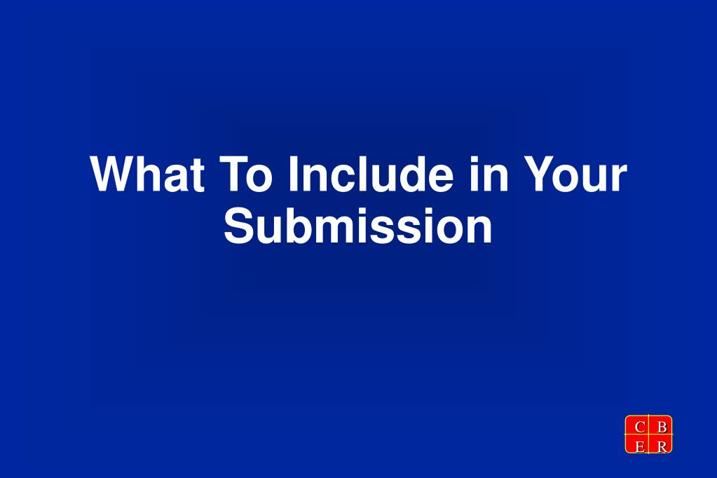 What To Include in Your Submission