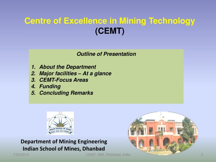 Department of mining engineering indian school of mines dhanbad