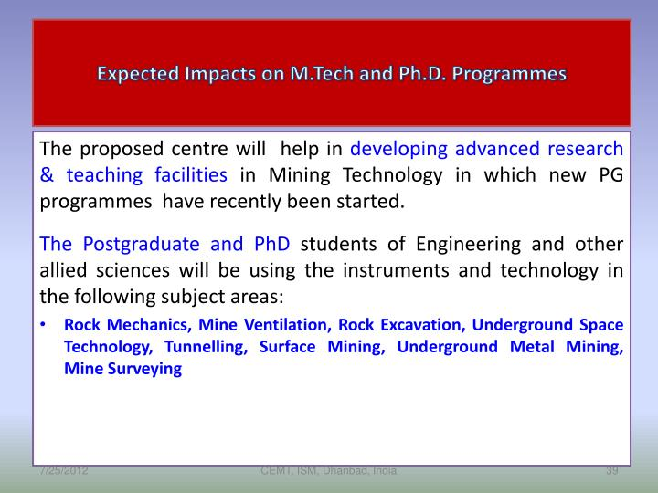 Expected Impacts on M.Tech and Ph.D. Programmes