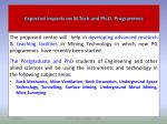 expected impacts on m tech and ph d programmes